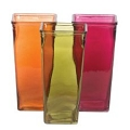 RED, ORANGE AND GREEN SQUARE GLASS  VASE (12PCS)