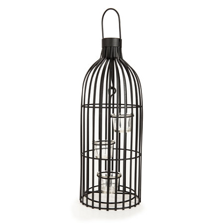 19.7inch Black Metal Cage Candle Holder( 1pc)