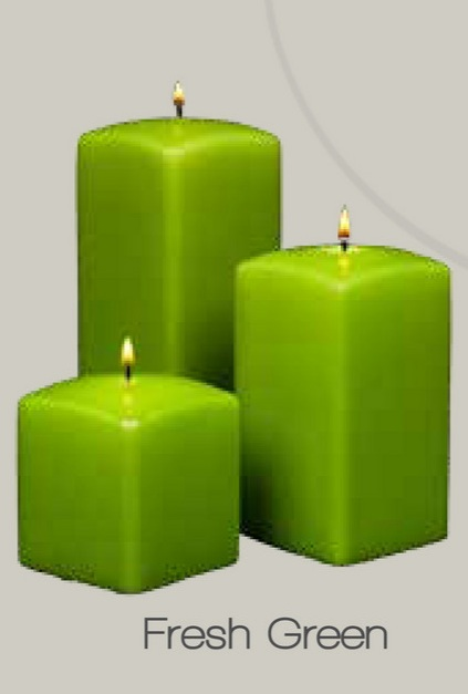 Fresh Green  Square Pillar Candles (12pcs)