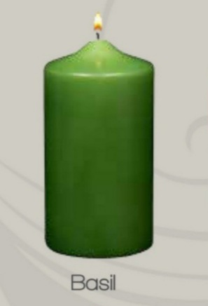 Unscented  Basil Green  Pillar candle (12pcs)