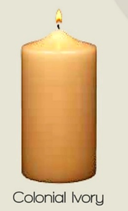 Unscented Colonial Ivory Pillar Candle (12pcs)