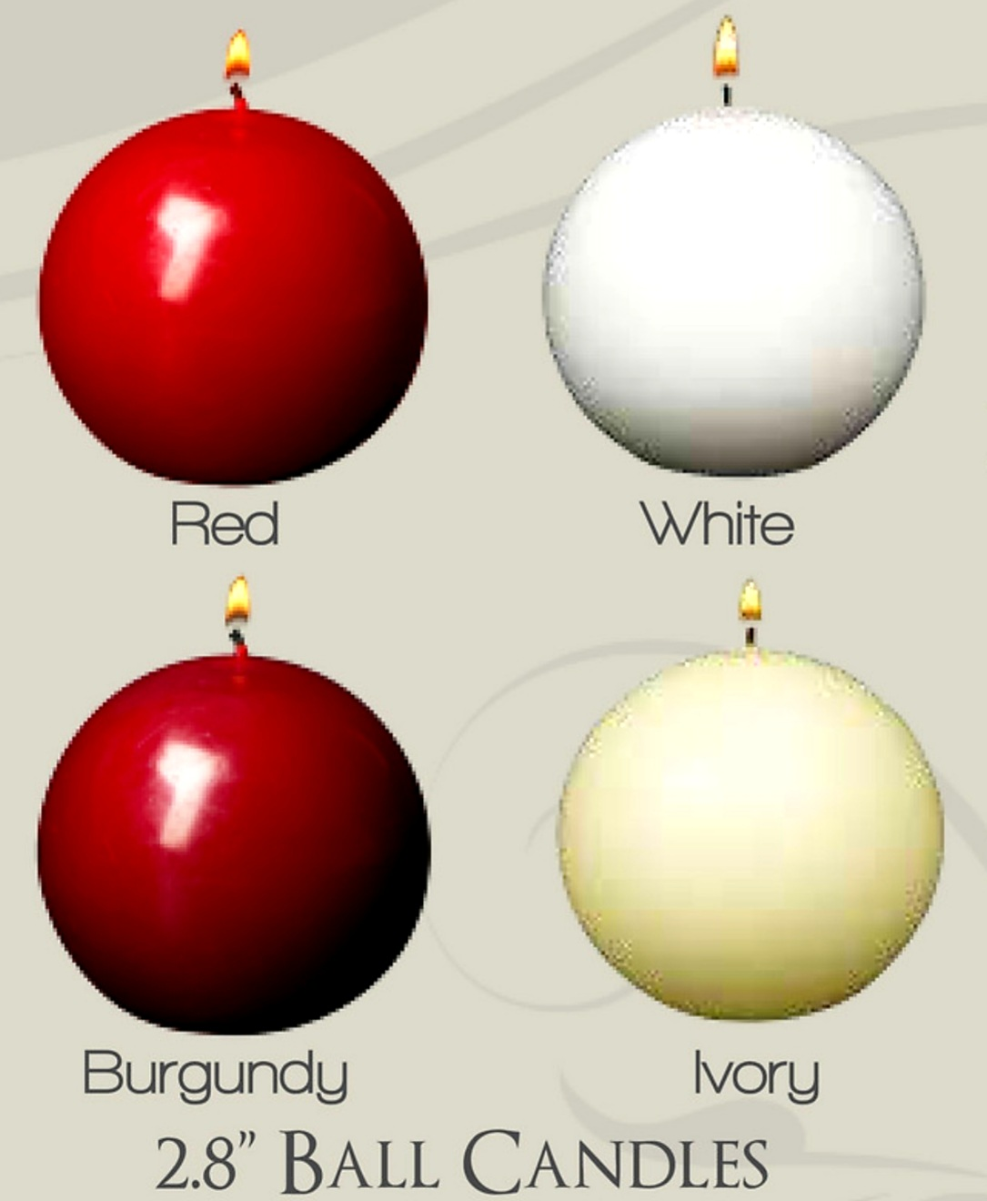 2.8 Inch Ivory, White, Red & Burgundy Ball Candles (12pcs)