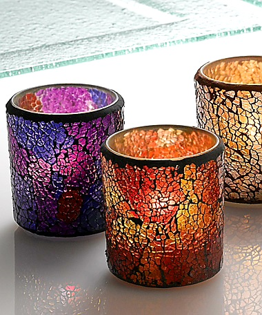 Colored, Cracked Glass Votive Holder