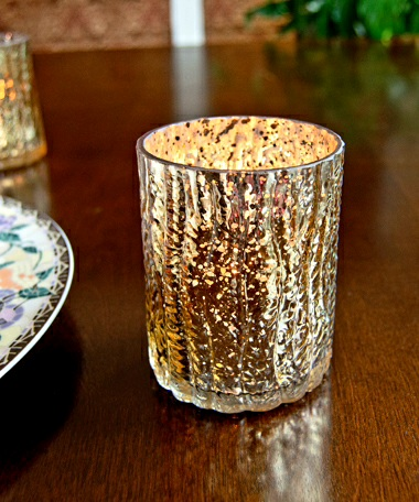 Rustic Mercury Glass Votive  Holder