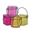 3 INCH CUBE BRIGHTON COLORS CANDLE GLASS (35PCS)