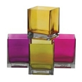 4.75 INCH ASSORTED  SQUARE  GLASS VASE  (16PCS)