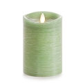 5-inch Luminara Rustic Green Pillar Candle