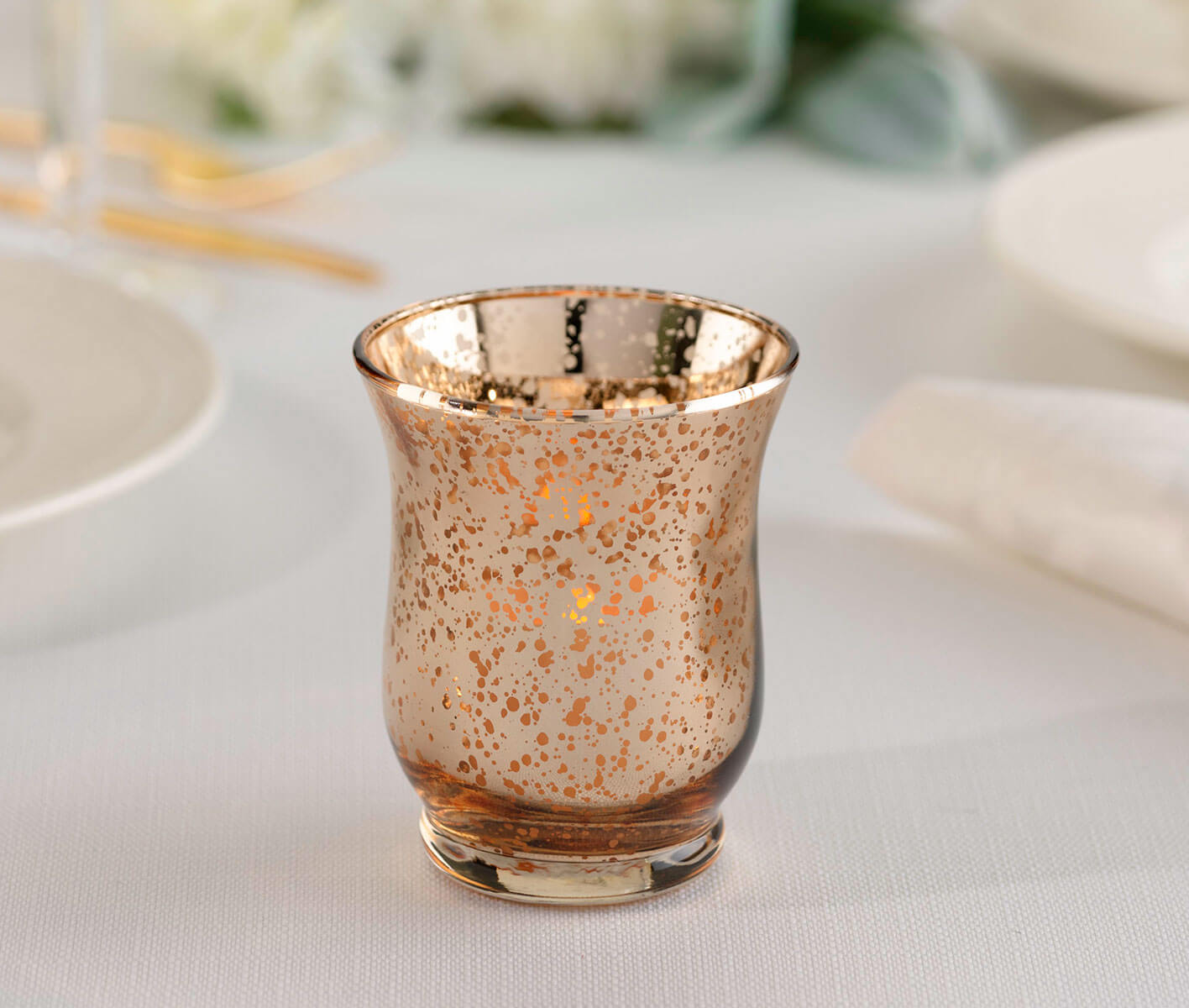 Mercury Tulip Shaped Glass Holders (4pcs)