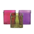 PURPLE,GREEN AND PINK CUBE GLASS VASE (12PCS)