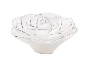 White Rose with  Glitter  Floating Candles (12pcs)