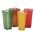 FROSTED SQUARE  BURGUNDY,MUSTARD YELLOW AND BROWN GLASS  VASE (12PCS)