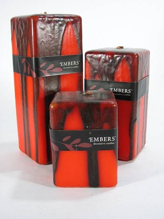 Embers Orange & Black Square  Pillar Candle