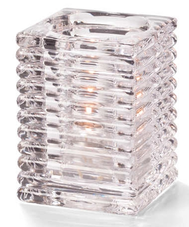 Clear Ribbed Square Block Lamp