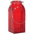 9.25 INCH RED GLASS WITH SILVER WIRE HANDLE (6PCS)