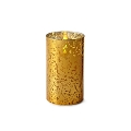 6inch Flameless Gold Mercury Glass Cylinder