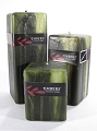 Embers  Moss Green Square Pillar Candle