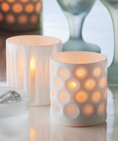 WHITE DOTS BOUTIQUE PORCELAIN VOTIVE HOLDER