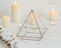 Gold Pyramid Glass Terrarium
