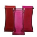 SQUARE RED AND PINK GLASS VASE (12PCS)
