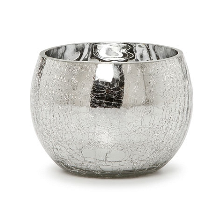 3.78 inch Sliver Crackle Glass Candle Holder  (12pcs)