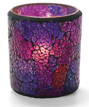 FROSTED BLUE & PURPLE CRACKLE GLASS VOTIVE LAMP