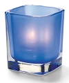 SATIN DARK BLUE TETRA GLASS VOTIVE LAMP