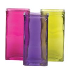 PURPLE,GREEN AND PINK RECTANGLE GLASS VASE (12PCS)