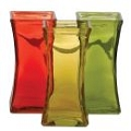SQUARE ORANGE, YELLOW AND GREEN GLASS VASE (12PCS)