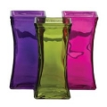 SQUARE PURPLE,GREEN AND PINK GLASS VASE (12PCS)