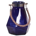 BLUE  GLASS VASE W/ROPE HANDLE (4pcs)