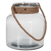 ROUND CLEAR GLASS W/ROPE HANDLE (6pcs)