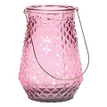 PINK GLASS VASE W/GOLD HANDLE (4pcs)
