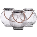 ROUND ASST  CLEAR GLASS W/ROPE HANDLE (6pcs)
