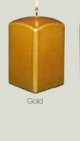 Gold Metallic Square Pillar Candle (12pcs)