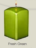 Metallic Green Square Pillar Candle (12pcs)