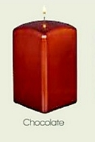 Square Metallic Chocolate Pillar Candle (12pcs)