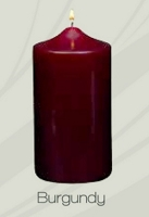 Unscented Burgundy Pillar Candle (12pcs)