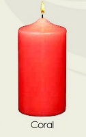 Unscented Coral Pillar Candles (12pcs)