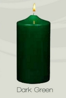 Unscented Dark Forest Green Pillar Candles (12pcs)