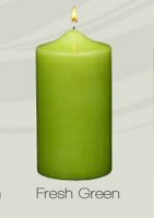 Unscented Fresh Green Pillar Candles (12pcs)