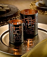 Black and Gold Data Votive Holder