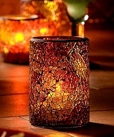 Crackle Glass Cylinder Holder