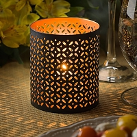 Monarch Black and Gold Perforated Metal Votive Holder