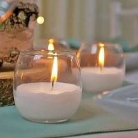 Unscented White Candle in Roly Poly Glass (24pcs)